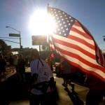 American Flag marathon runner